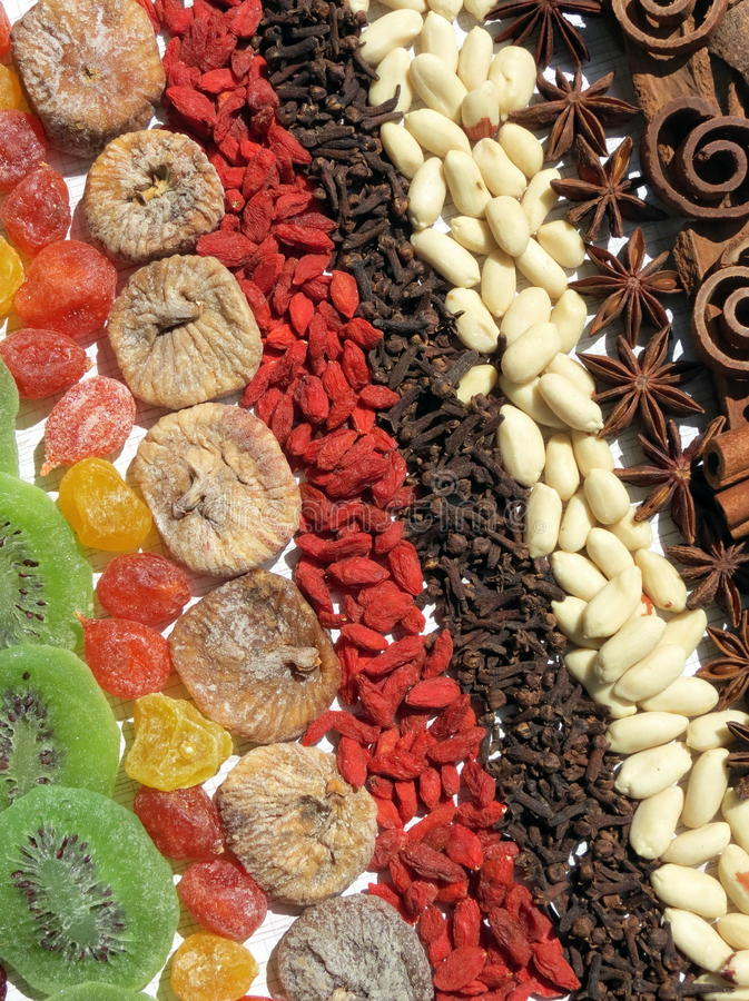 Dried fruits, nut and spice stock photo