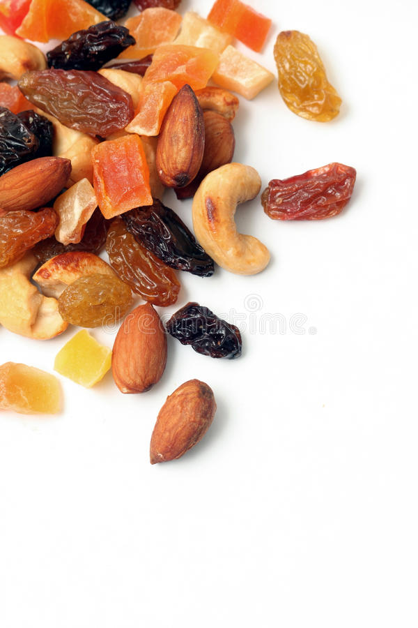 Dried fruits and nuts. Isolated on white