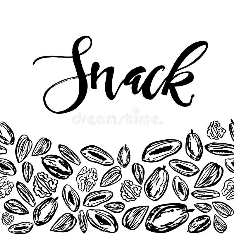 Dried fruits and nuts pattern on white background. Seamless pattern with nuts and dried fruits on white background. Vector illustration stock illustration