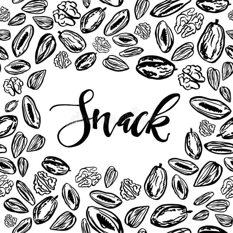 Dried fruits and nuts pattern on white background. Seamless pattern with nuts and dried fruits on white background. Vector illustration royalty free illustration