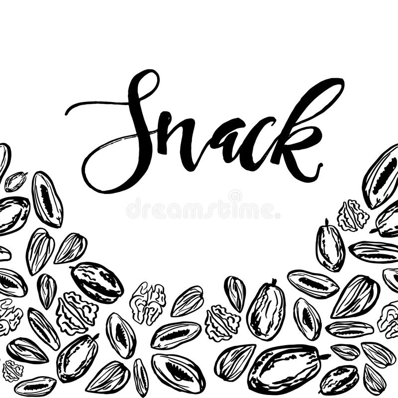 Dried fruits and nuts pattern on white background royalty free illustration