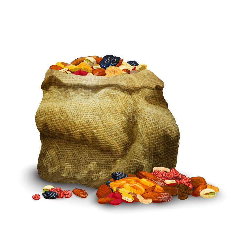 Dried Fruits In Sack. Dried fruits and nuts pieces in sack healthy nutrition vector illustration vector illustration