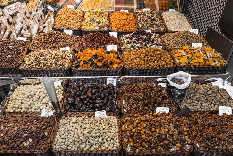 Dried fruits and nuts stall la boqueria market barcelona spain royalty free stock image