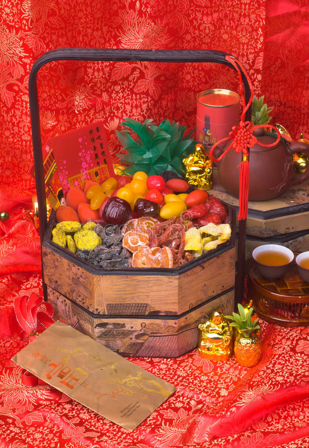 Free Dried Fruits On Chinese New Year Background Stock Photos - 26319533
