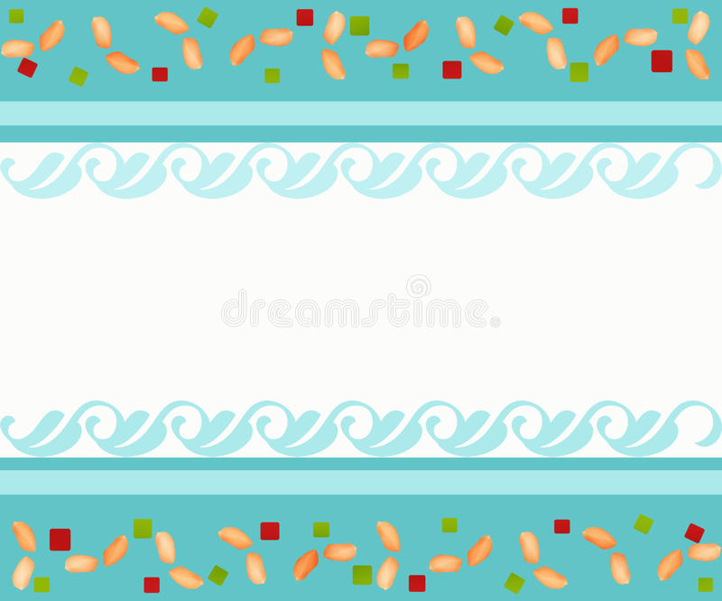 Dried fruits and peanuts background. Dried fruits and peanuts cartoon background vector illustration