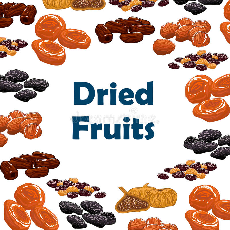 Dried fruits snacks vector poster. Dried fruits. Vector poster with raw nutritious raisins, dates, figs, apricots, plums, prunes. Vegetarian sweets and dessert stock illustration