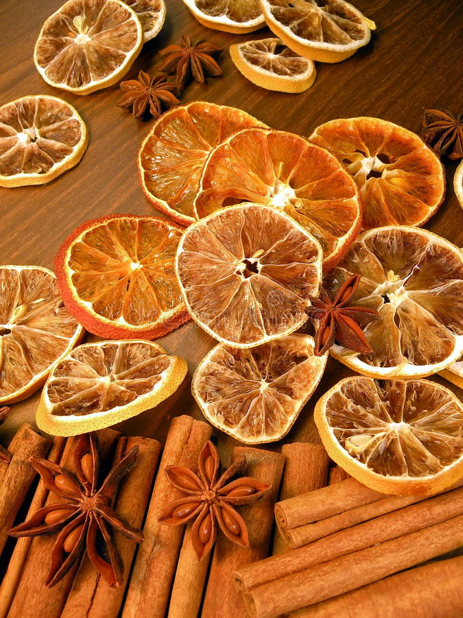 Dried fruits and spice stock photo