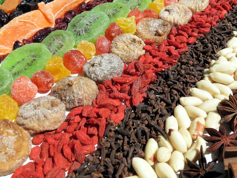 Dried fruits and spices royalty free stock photo