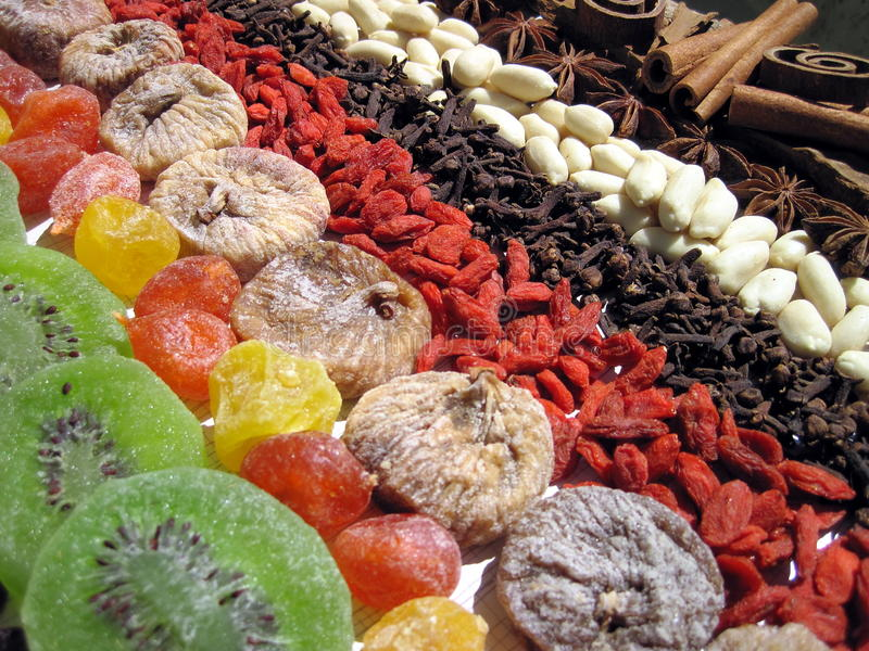 Dried fruits and spices stock images