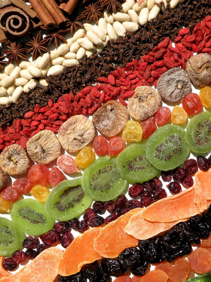 Dried fruits and spices royalty free stock images