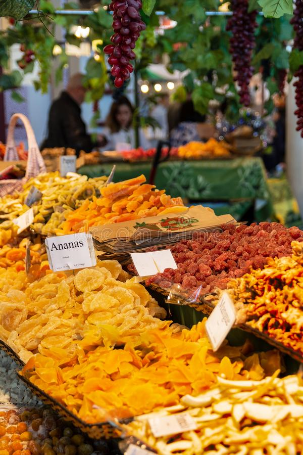 Dried fruits on a stall at the Paris International Agricultural Show 2019 stock image