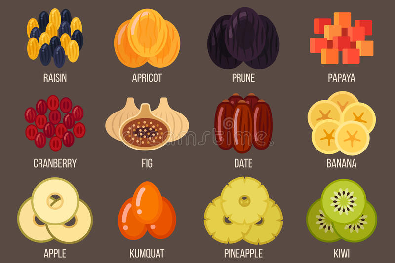 Dried fruits. Vector set of dried fruits. Flat style royalty free illustration