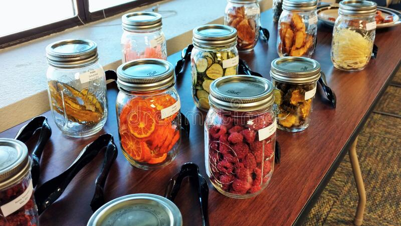 Dried fruits and vegetables ready for sampling stock images