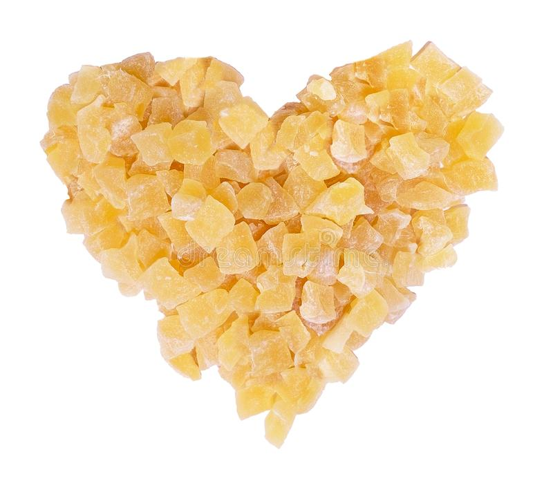 Dried ginger heart shape, pieces of cubes of giger dehydrated. Healthy food natural bio diet meal stock photography