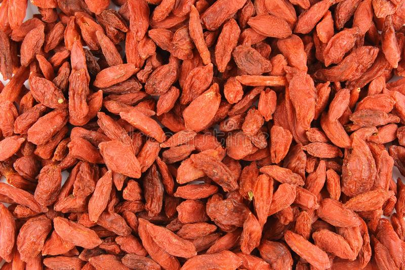 Dried goji berries closeup food background texture royalty free stock images