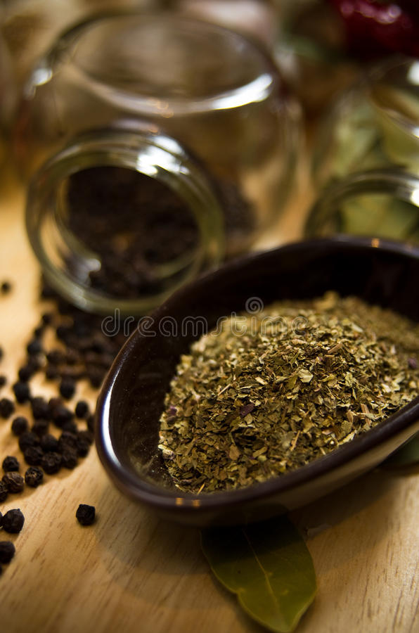 Dried herbs stock images