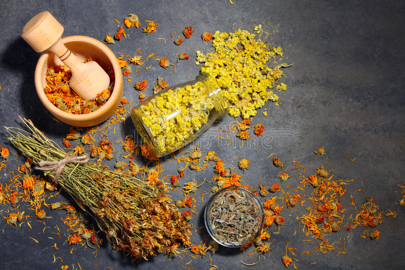 Dried herbs. The dried flowers of herbs in jars and wooden Mortar on wooden background stock image