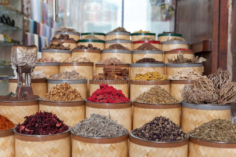 Dried herbs, flowers and spices at the spice souq at Deira in Dubai, UAE stock photography