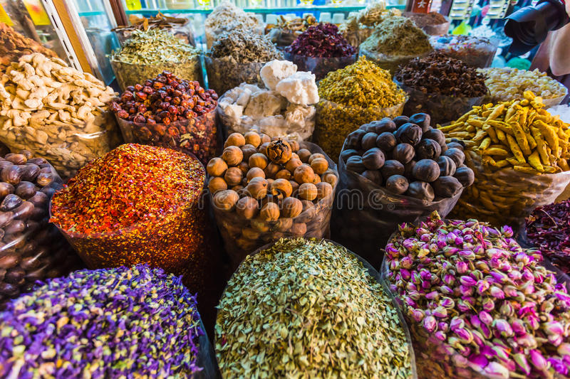 Dried herbs flowers spices in the spice souq royalty free stock photo