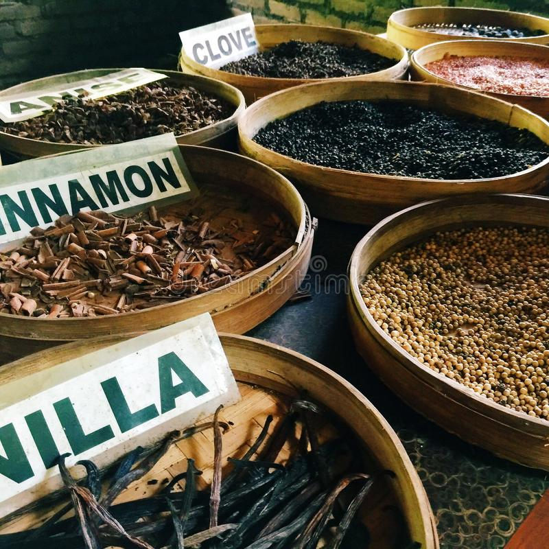 Dried Herbs and Spices. In traditional baskets royalty free stock photography
