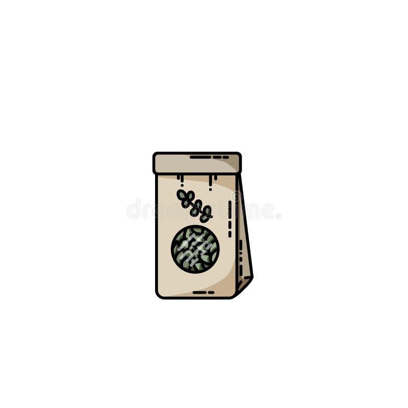 Dried herbs tea craft bag vector flat icon vector illustration