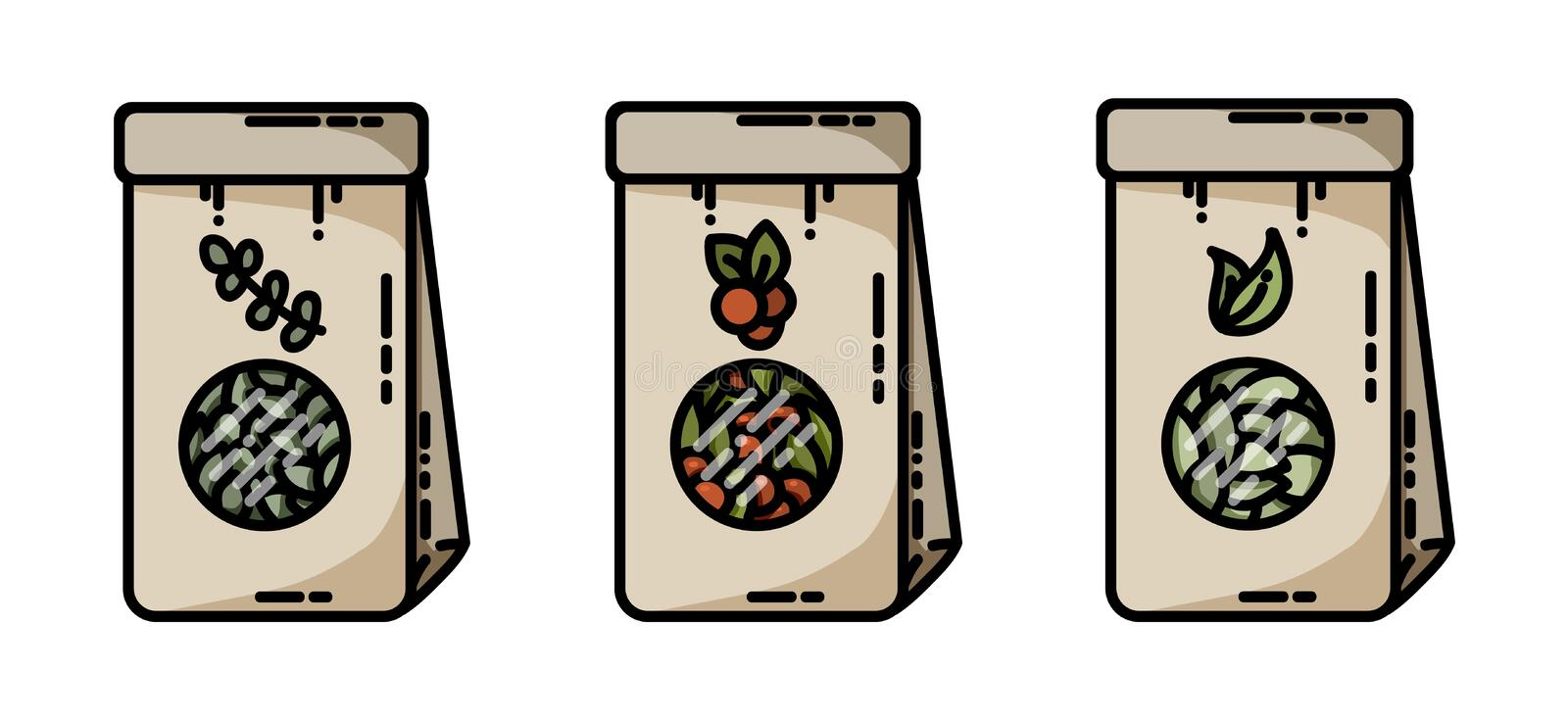 Dried herbs tea craft bags vector flat icons royalty free illustration