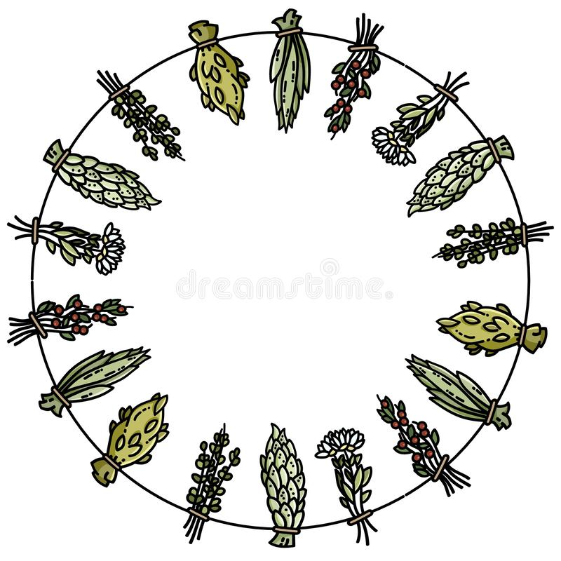 Dried herbs on a thread circle ornamental wreath. Flat vector style image stock illustration