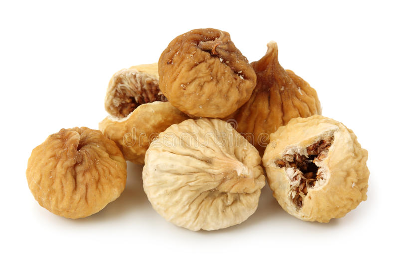 Dried iranian figs. Isolated on white background royalty free stock photo