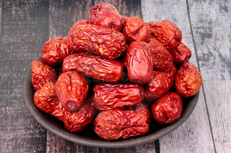 Dried jujube ,The fruit is a traditional Chinese herb , Chinese. Jujube dry.Jujube royalty free stock photo