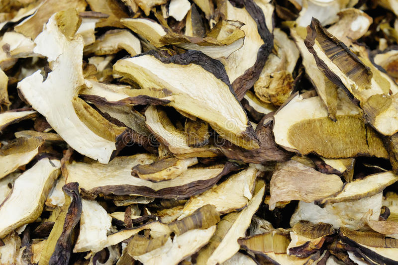 Dried king bolete. Background of dried king bolete royalty free stock images