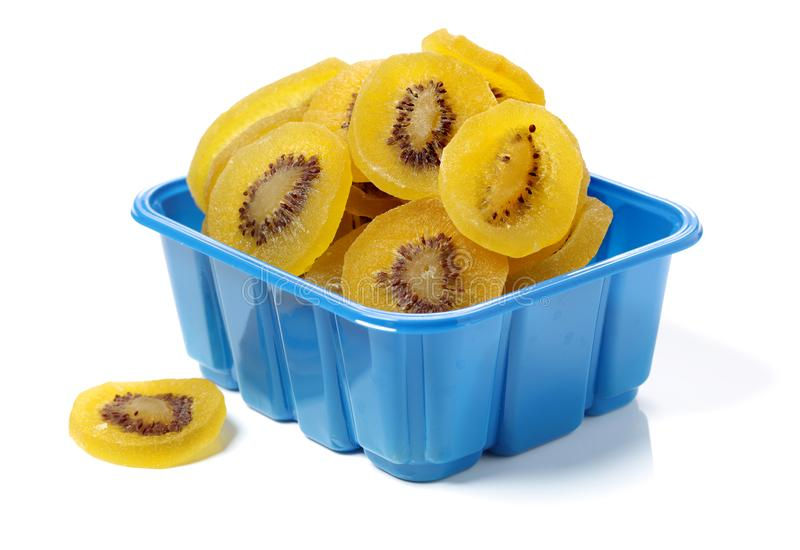 Dried kiwi fruit, dried preserved candied kiwifruit slices sugar. Ingredients, healthy. royalty free stock image