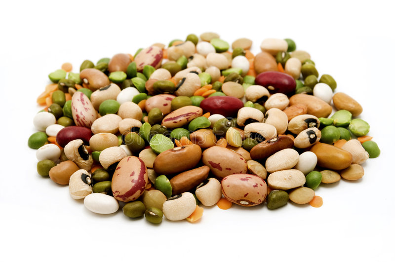 Dried legumes and cereals stock image