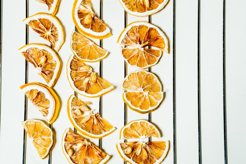 Dried lemon slice isolated on the white table stacked together royalty free stock photo