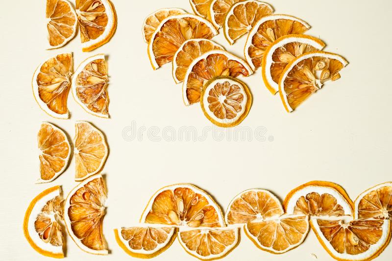Dried lemon slice isolated on the white table stacked together stock photos