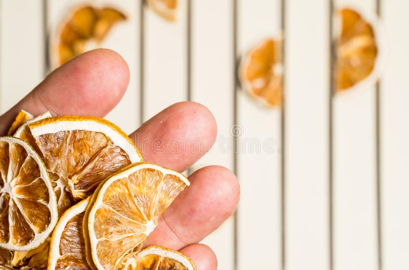 Dried lemon slice isolated on the white table stacked together stock photo