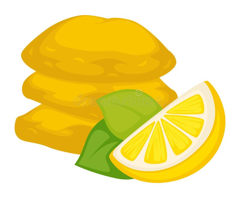 Dried lemon with sugar snack or dessert isolated food. Food dried lemon with sugar snack or dessert isolated cooking ingredient treat or meal sweet dish citrus vector illustration