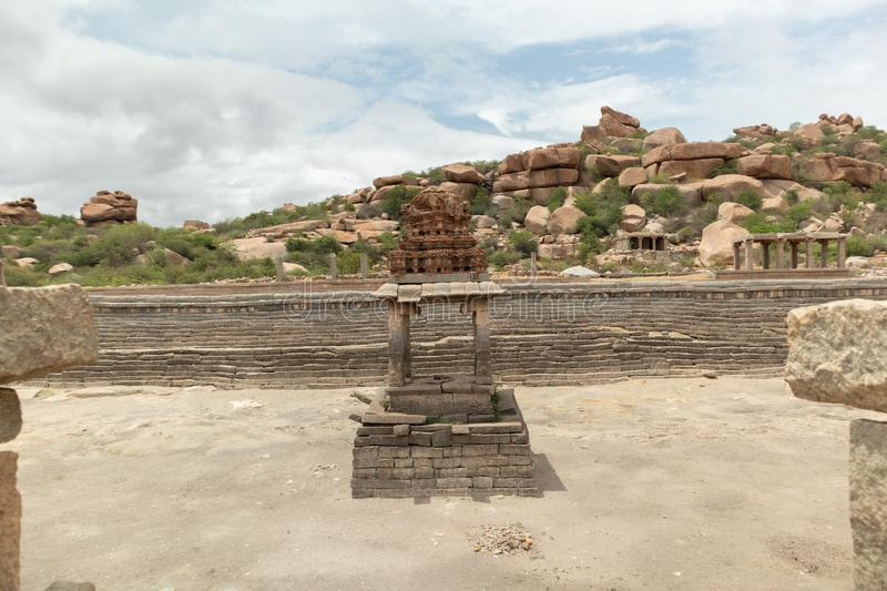 Dried Loka Pavani tank near vittala Temple Hampi, India stock image
