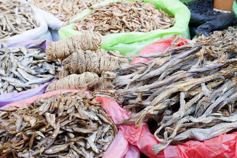 Dried Marine Products for Sale at Market, Nepal stock image