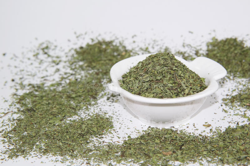 Dried mint. And white background royalty free stock image