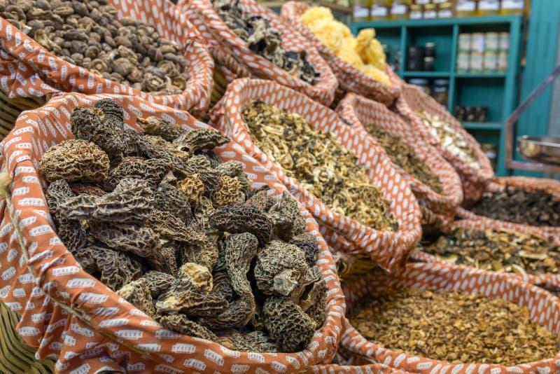 Dried mushrooms at La Boqueria market in Barcelona. royalty free stock image