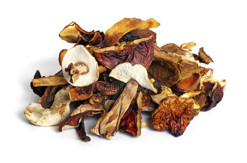 Dried mushrooms. On white background stock photos