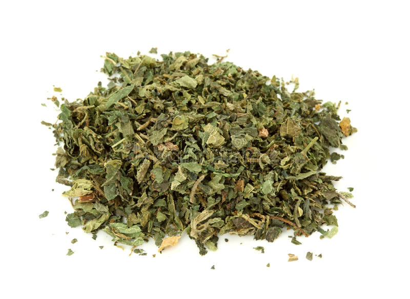 Dried nettle tea. Isolated on the white background royalty free stock photo