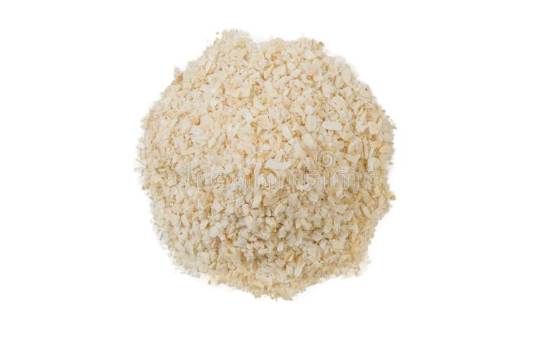 Dried onion heap isolated on white background. top view royalty free stock image