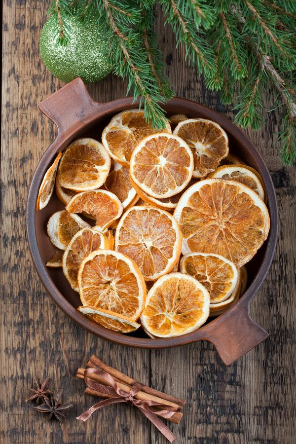 Dried orange slices. Christmas decoration stock photo