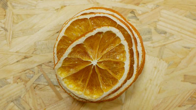 Dried orange slices detail intended for decoration and decorative purposes will accompany the living room. Suitable as. Christmas tree decorations. Beautiful stock photography