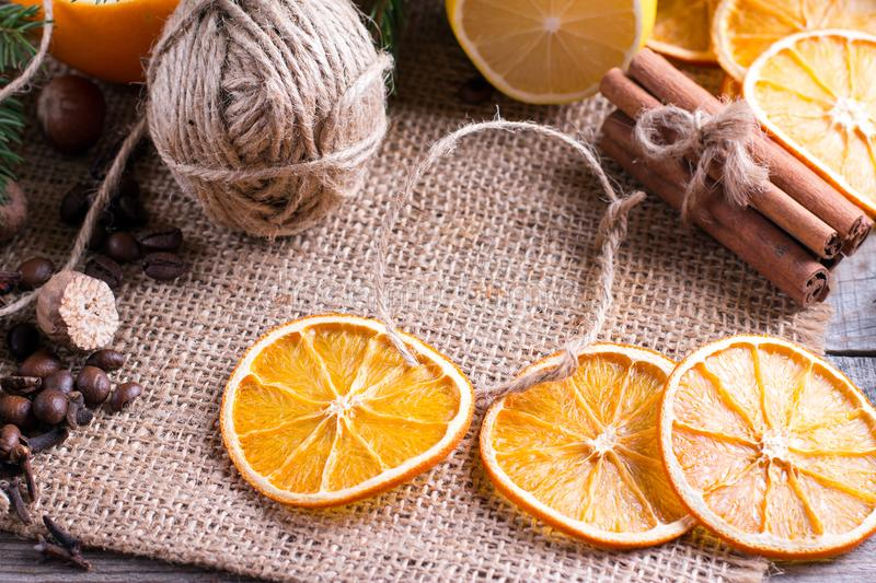Dried oranges,cinnamon sticks and anise star royalty free stock image