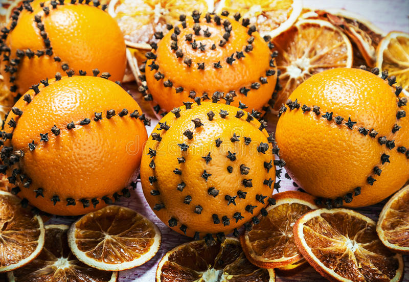 Dried Oranges And Oranges With Cloves. Christmas