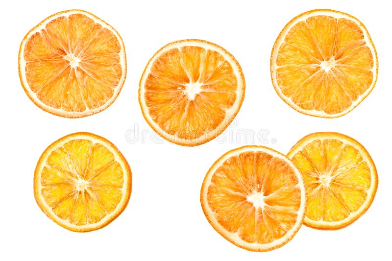 Dried oranges on a white background. orange slices orange. Six dried oranges on a white background. oranges on white isolated background royalty free illustration