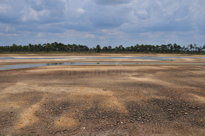Dried out lakebed stock photo