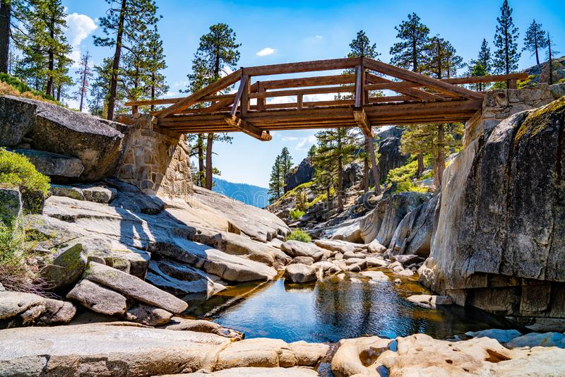 Dried out Yosemite waterfall with small river and pond where used to be mighty falls. royalty free stock image